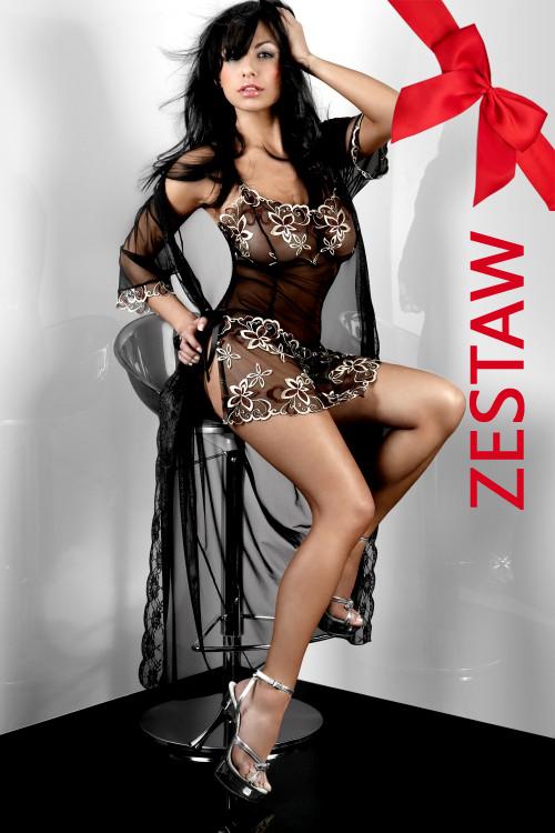 c8834d017e0684 ZESTAW 3 cz. seksowna koszulka z haftem+stringi+peniuar HERA