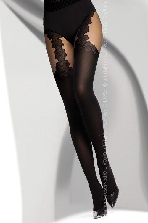 39d389e16ab89b Rajstopy imitujące pończochy, 40 DEN RENITANA BLACK 43863 w cenie 24 ...