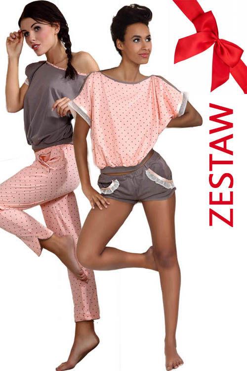 00401ff5bd4f19 ZESTAW Piżama w kropeczki krótkie spodnie + Piżama mocca długie spodnie  P-374/1+P373/1