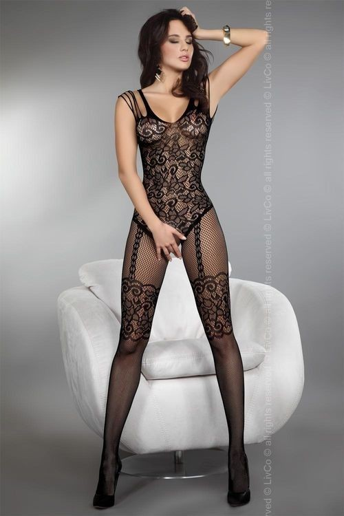 TEMPERANCE Bodystocking, BLACK