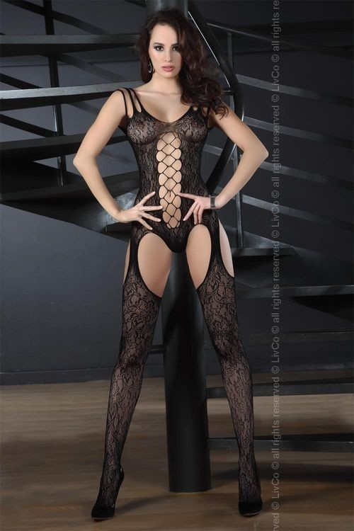 TURQUOISE Bodystocking, black
