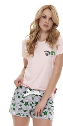 02016e42f672f2 DOBRANOCKA 9619 krótka piżamka w kaktusy, light pink