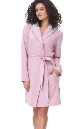 dc0b8b9ddd8e8f Dobranocka 9607 Bawełniany szlafrok z uszami FLAMINGO, różowy