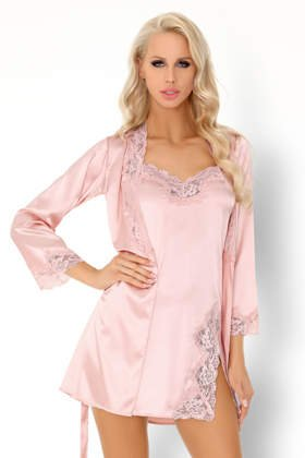 80a707d1d70466 KOMPLET 3 części: satynowy szlafrok + koszulka+ stringi AINHOAN różowy