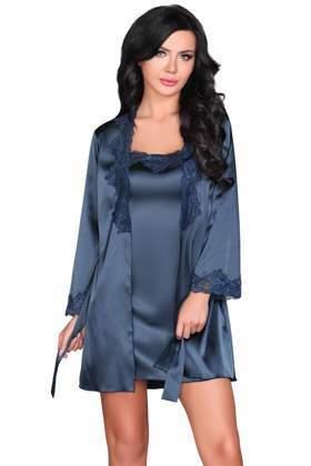 ac0af0e7847a81 KOMPLET 3 części: satynowy szlafrok+ koszulka+ stringi JACQUELIN navy blue