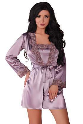 a9095d71da42fd KOMPLET 3 części: satynowy szlafrok+ koszulka+ stringi JACQUELIN violet