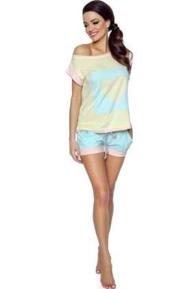 d28ce95206387e P-367/2 Piżama z sercem, pastelowa - długie spodnie, róż-żółty