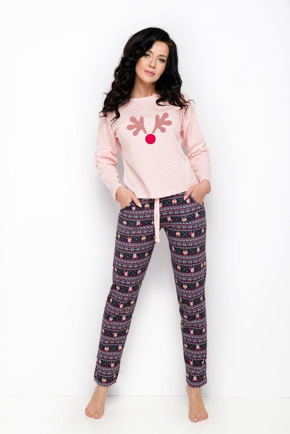 9fed8347e74c09 Bawełniana piżama z reniferem NADIA 1190, różowa 43835 w cenie 64,00 ...
