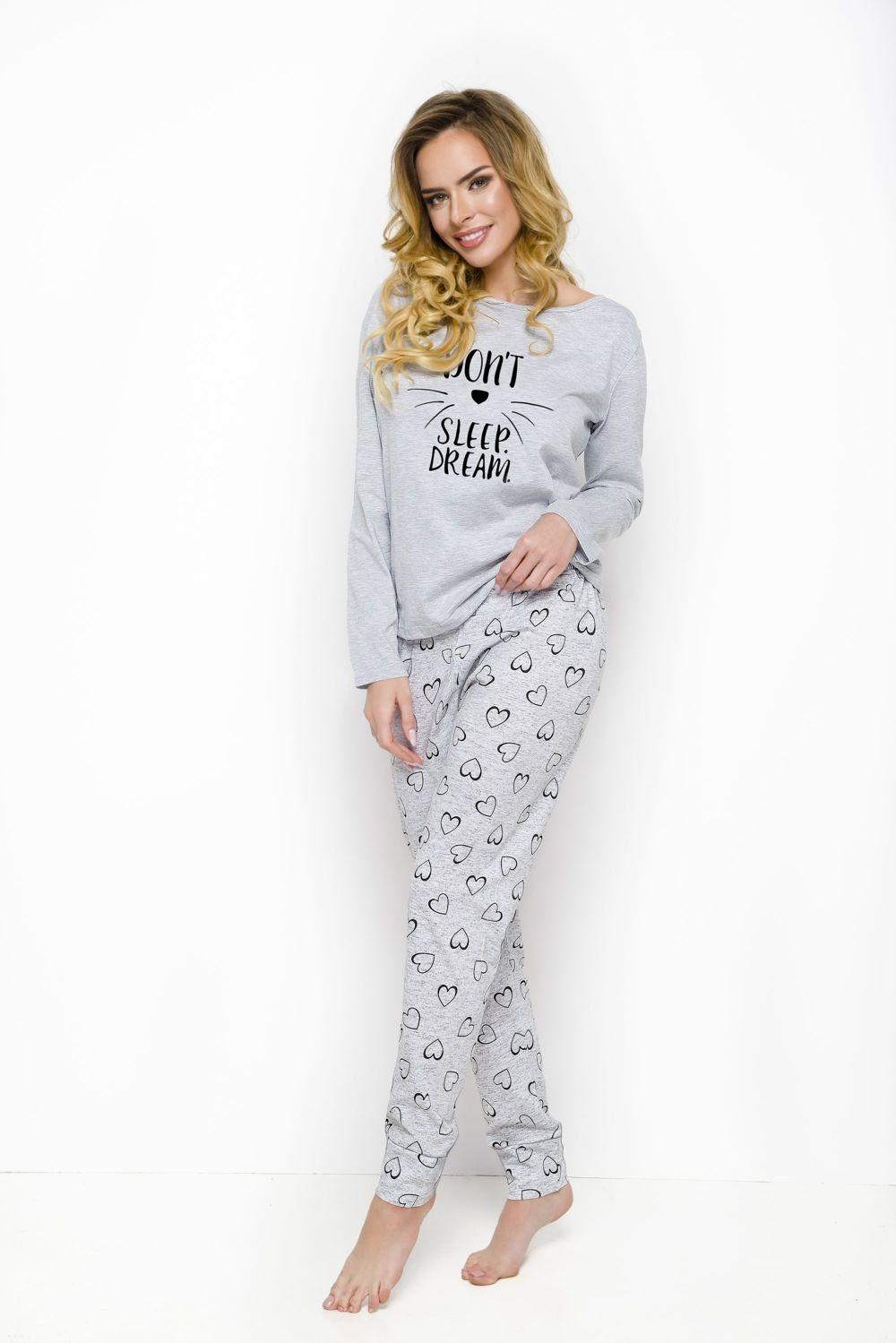 24619992aafe89 Bawełniana piżama z serduszkami GALA 2113, szara Kliknij, aby powiększyć ...