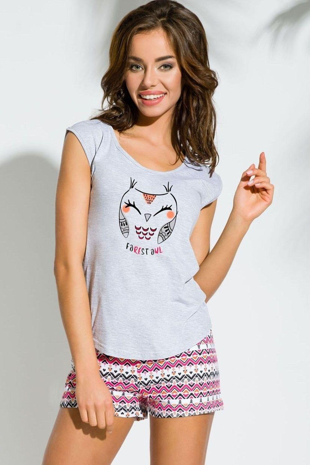 543343cf3b0291 Bawełniana piżamka z sową EVA 2157, jasny szary 41369 w cenie 46,80 ...