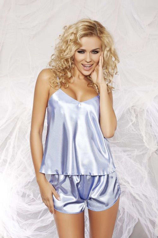BLAU DKaren Satin-Pyjamas KAREN Satinhemd+Shorts Größe *S*M*L  ROT