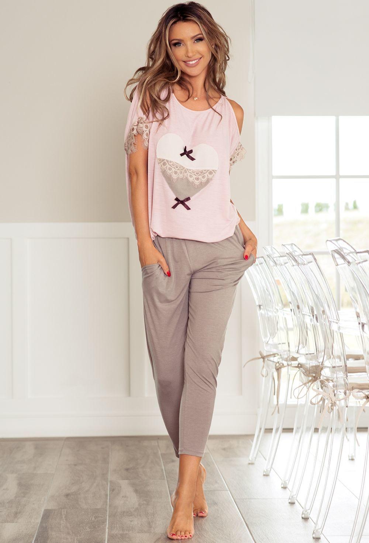 f456b7a198 P-577 2 Piżama z długimi spodniami z sercem