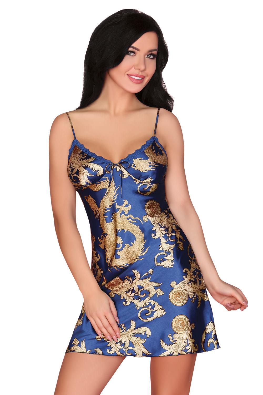 f8d6900668ab60 Satynowa koszulka z orientalnym wzorem DRAGANA MONACO BLUE Kliknij, aby  powiększyć ...